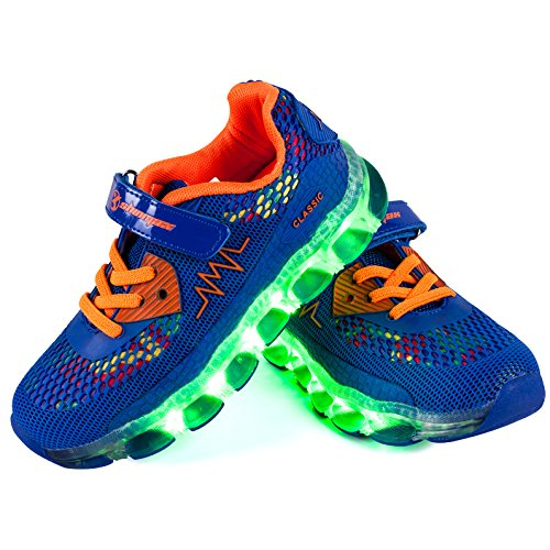Shinmax Frühling-Sommer Neu ins Leben gerufen Kid LED Turnschuhe 7 Farb-LED-Schuhe mit CE-Zertifikat (37,Dunkelblau) Leben Nacht Licht
