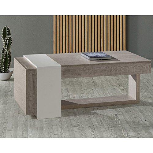 Tousmesmeubles Table Basse relevable 2 tiroirs Chêne Clair/Blanc - Esteban - L 110 x l 60 x H 44 - Neuf