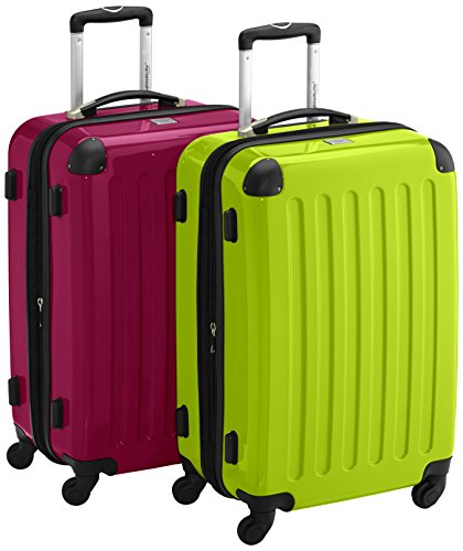 HAUPTSTADTKOFFER - Alex - 2er Koffer-Set Hartschale glänzend, 65 cm, 74 Liter, Graphit-Schwarz Magenta-Apfelgrün