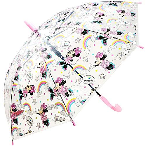 Paraguas Transparente Automático Paraguas Infantil Niña Paraguas Minnie Mouse Rainbow 69cm