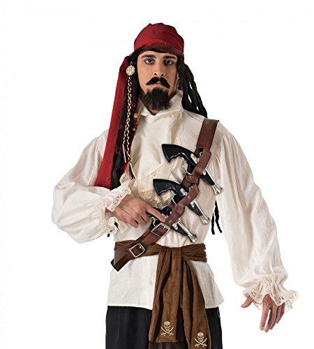 Piraten Pistolen-Gürtel inklusive 3 Waffen (Holster Pistole Kostüme Schulter)