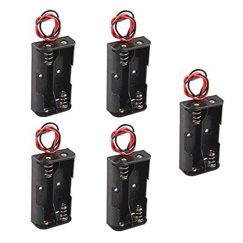 HALJIAK Aufbewahrungsbox/Halterung für jeweils 2x AA-Batterien mit 3V, aus Kunststoff, mit Leitungsdrähten, 5 Stück