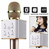 #10: Sec Bluetooth Wireless Karaoke Mike Compatible With All Smart Phones And With Other Functions Like Echo , Treble , Bass ,-Gold Color