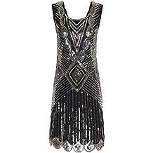 PrettyGuide Damen 1920er Gatsby Pailletten Art Deco Scalloped Saum Inspiriert Flapper-Kleid