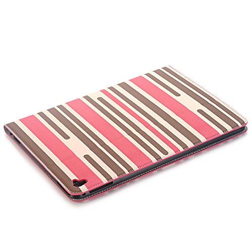12,9 zoll Hülle, elecfan® Luxus Bookstyle Streifen Muster Folio Hülle Tasche Ständer Magnet Auto Aufwachen Schlaf Funktion und Einstellbarem Blickwinkel Funktion Schutzhülle für iPad (iPad Pro 12.9, B Rosa Streifen