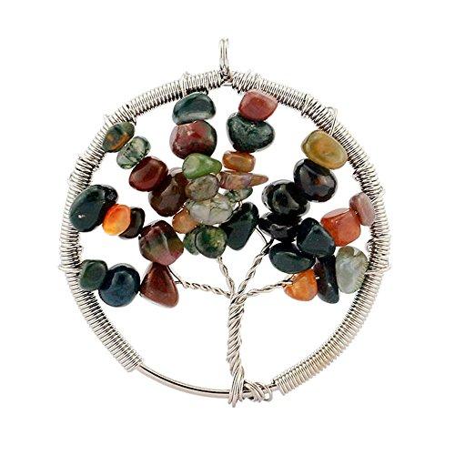 Contever® Gioielli Pendenti e Ciondoli a Forma di Albero della Vita con Natural India agate (Famiglie Luce Ciondolo Pendente)