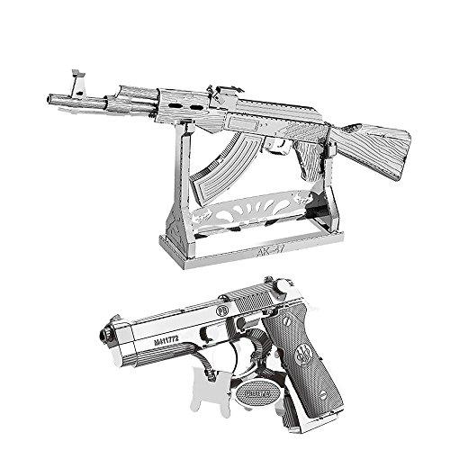 uzzle AK-47 + Beretta 92 Modell Kits W11102-07 DIY 3D Laserschnitt Modell-Bausatz Spielzeug ()