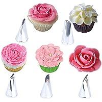 BONYTAIN - Juego de 5 boquillas de metal para decoración de pasteles, pasteles, glaseado