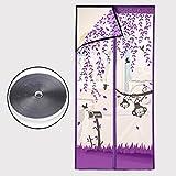 Silk Road Velcro Anti-mosquito Magnetische fliegengittertür, Tür-jalousien Verschlüsselte Magnetische Moskitonetz Anti-mosquito Sommer Home Schlafzimmer Doppeltür-bildschirm-Lila 90x210cm(35x83inch)
