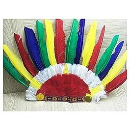Yyanliii Divertente Accessori per capelli selvaggi indiani Puntali colorati per copricapo con copricapo di piume colorate per Halloween