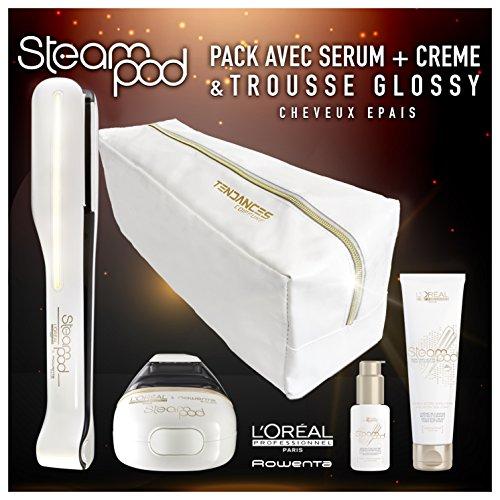 L'OréalSteamPod 2.0 - Confezione con astuccio, piastra a vapore di nuova generazione, siero, latte e crema anticrespo per capelli voluminosi