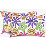 "Ahmedabad Cotton Floral 2 Piece Cotton Pillow Cover Set - 18""x27"", Multicolour"
