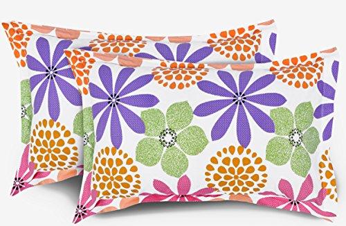 """Ahmedabad Cotton Floral 2 Piece Cotton Pillow Cover Set - 18""""x27"""", Multicolour"""