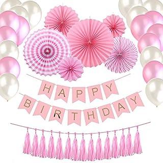 Happy Birthday Girlande Rosa Weiß Luftballons Quasten Papier Fans Geburtstag Deko Partydeko set