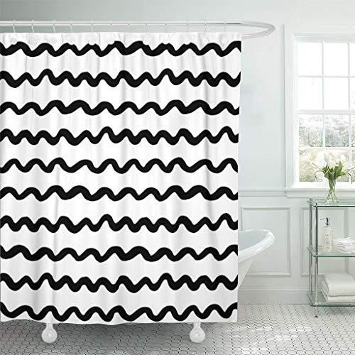 Luancrop Duschvorhang Tinte Pinsel Marker minimalistisch Moderne einfache unregelmäßige Doodle wasserdichtem Polyester-Stoff mit Haken gesetzt -