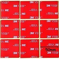 Grande negro 3m VHB almohadillas autoadhesivas acrílico cuadrado ~ 50mm x 50mm x 1mm de grosor ~ Mega fuerte resistente a la intemperie heavy duty cinta ~ 5952, transparente
