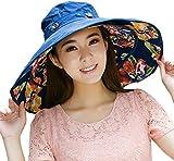 Ihomey cappello da sole extra-large reversibile, ripiegabile e modellabile, a tesa larga, UPF 50+, cappello estivo per la spiaggia, ragazza, Deep Blue-Flower