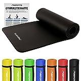 Gymnastikmatte Premium inkl. Übungsposter | Hautfreundliche - Phthalatfreie Fitnessmatte - 190 x 60 x 1,5 cm | Schwarz | Pilatesmatte - sehr weich - extra dick - Yogamatte