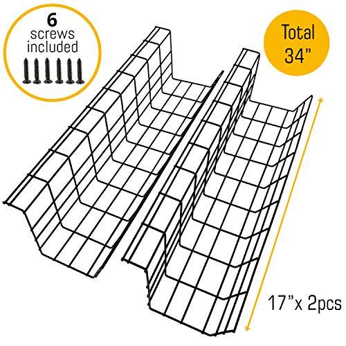 Kabelkanal für die Schreibtisch-Unterseite - Computer Kabel-Aufbewahrung zum einfachen Kabel-Management. Kabelkorb aus Metall für Zuhause und Büro (Schwarz, 34\'\' / 86cm)