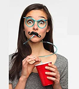 GeekGoodies Drinking Eyeglasses Straw With Moustache Party - Yellow