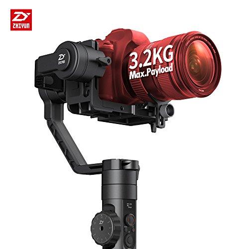 Der Zhiyun Crane 2 (die neuste Version) ist ein 3-Achsen Hand-Gimbal Stabilisator mit Folgefokussteuerung für spiegellose Kameras und Spiegelreflexkameras (DSLR) bis 3,2kg, unter Anderem passend für: