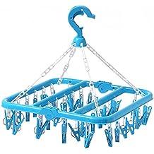SMARTrich Tendedero plegable de plástico, 32 clips, plástico, ...