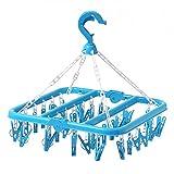 Aubess Tendedero plegable de plástico, 32 clips
