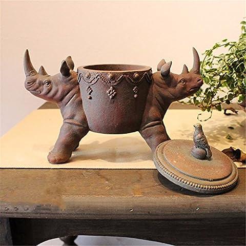 Retro rhinoceros ornament jewelry box ashtray storage home American country ornaments, brown
