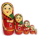 Craft Hand Traditional Indian Nesting Wooden Doll/ Hand Painted Matryoshka Stacking Dolls- Set Of 5 Piece (Lady In Red Saree)