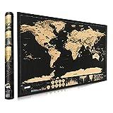 Poster con mappa del mondo da grattare, mappa internazionale da grattare, mappa dei viaggi del mondo, decorazione da parete dettagliata con capitali, stati, città, mappa da grattare con tubo 42 30 cm