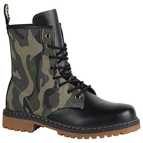 Geschnürte Damen Worker Boots Profil Sohle Stiefel Stiefeletten 151836 Camouflage 42 Flandell