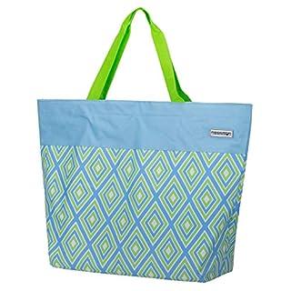 anndora XXL Shopper orange himmelblau lindgrün Raute - Strandtasche 40 Liter Schultertasche Einkaufstasche