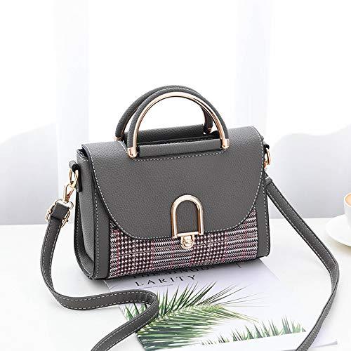 Xmy borsa a tracolla femminile borsa a tracolla piccola borsa a mano grande borsa a quadri a quadretti, grigio scuro