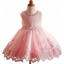 Yeesn Robe de princesse pour enfant Dentelle et fleurs Rose, rose