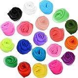 TecUnite 20 Farben Square Tanzen Schal Seide Magische Schals und Jonglieren Schals, 24 x 24 Zoll, 20 Stück