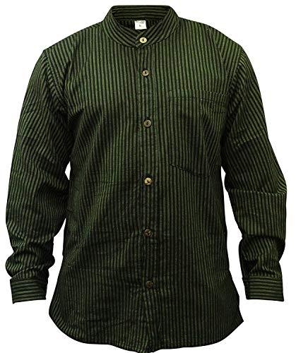 Shopoholic Fashion Herrem Streifen Hippie Großvater Shirt - Grün, XX-Large -