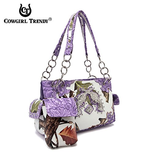 Borsa a tracolla Camouflage pistola occidentale Brown Viola