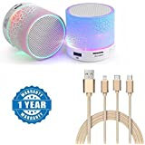 Drumstone Colourful LED Light Crack Pattern Mini Stereo Portable Wireless Bluetooth Speaker with Universal 3 in 1 Fiber Cable (Colour May Vary)