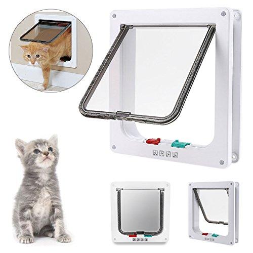 IREENUO Haustier-Klappe mit 4-Wege-Verriegelung, abschließbar, für Katzen und kleine Hunde, mit Teleskop-Rahmen, einfache Installation,Weiß (Verriegelung Dichtung)