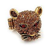 Citrino Cristal Swarovski 'leopardo' anillo elástico en combustión - chapado en oro 7/9 tamaño