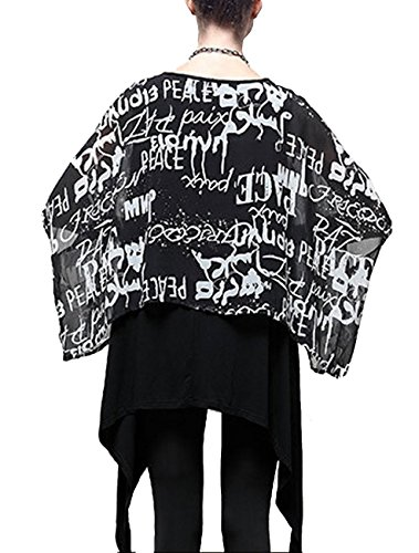 ELLAZHU Femme Fashion Lache 2in1 Col-Rond Mousseline de soie Robe DY05 A Noir