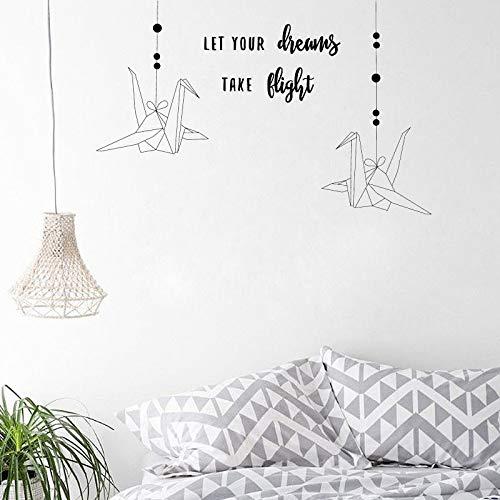 yiyiyaya Lassen Sie Ihre Träume nehmen Flug Wandaufkleber Papierkranich Inspirierend Für Familie Baby Kindergarten Kinder Kinder Schlafzimmer87 * 56 cm