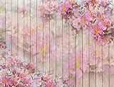 HUAYI 5X7ft farbige Holzplanken Blume Fotografie Hintergrund XT-5458