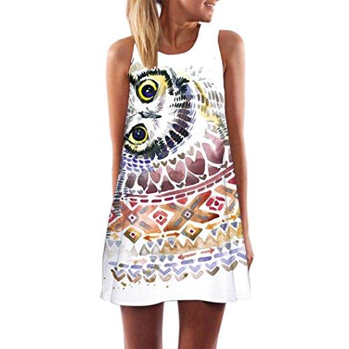 Longra Damen Beachwear Strandkleider Sommerkleid Kurz Minikleid im Ethno-Style Damen Strandmode Tunikakleid Freizeitkleid A Linien Ärmellos Retro Blumendrucken Kurz Kleider (White 10, L)