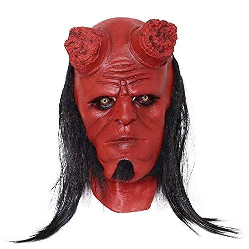 Miminuo Cosplay Maske mit schwarzer Perücke Latexrot Kostüm für Erwachsene (Erwachsenen Hellboy Kostüme)