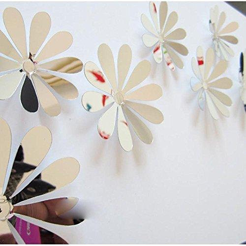 Romote La decoración hogar Flores DIY 3D Espejo Pared