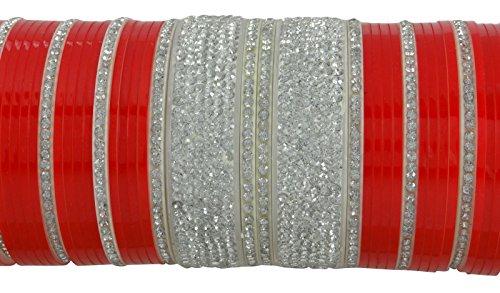 Banithani concepteur traditionnel indien choora mariée bracelet mis bijoux de mariage 2 * 6 Blanc et rouge