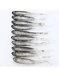 10pcs–señuelo pesca pez artificial crema silicona suave appat oscuridad suave baja