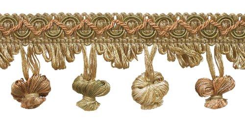 LT Pfirsich, olivgrün, elfenbeinfarben 5,1cm Imperial II Zwiebel Quaste Fransen Stil # nt2503Farbe: Prairie Pfirsich-3853(Verkauft von der Hof) -