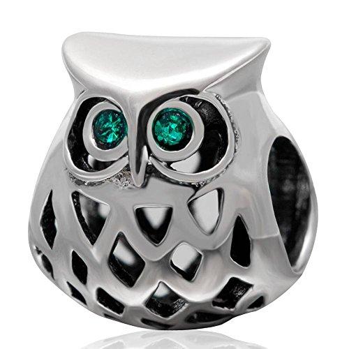 Soulbead - ciondolo a forma di gufo con cristalli color smeraldo, in argento sterling 925, foro compatibile con braccialetti europei